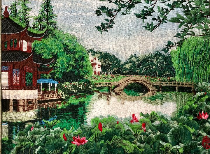 Chinese Garden Handmade Embroidery - Ouyang Painting