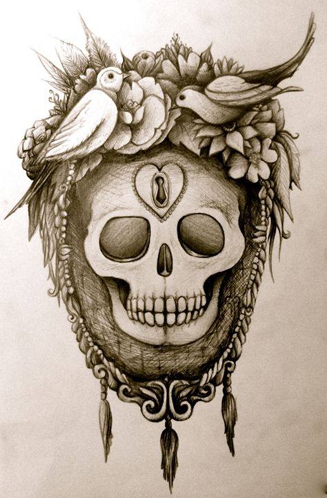 Sugar Skull Tattoo Bird Art Busyspider Drawings Illustration