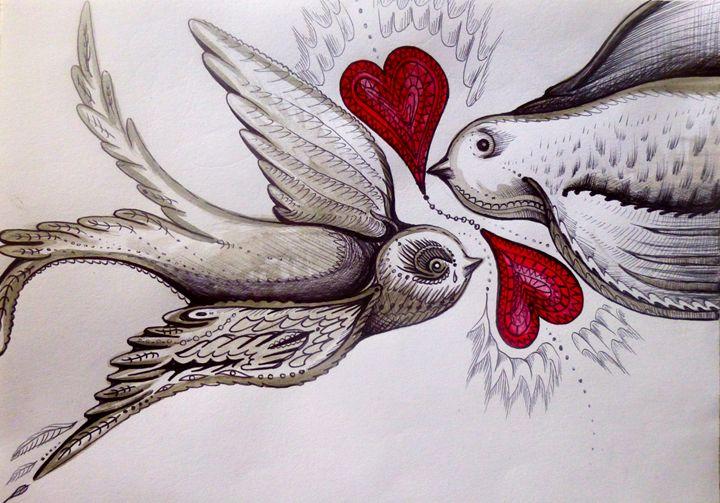 love heart valentine tattoo birds - busyspider