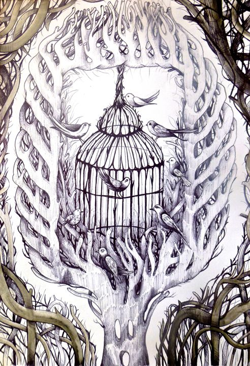 free birds cage sketch art - busyspider