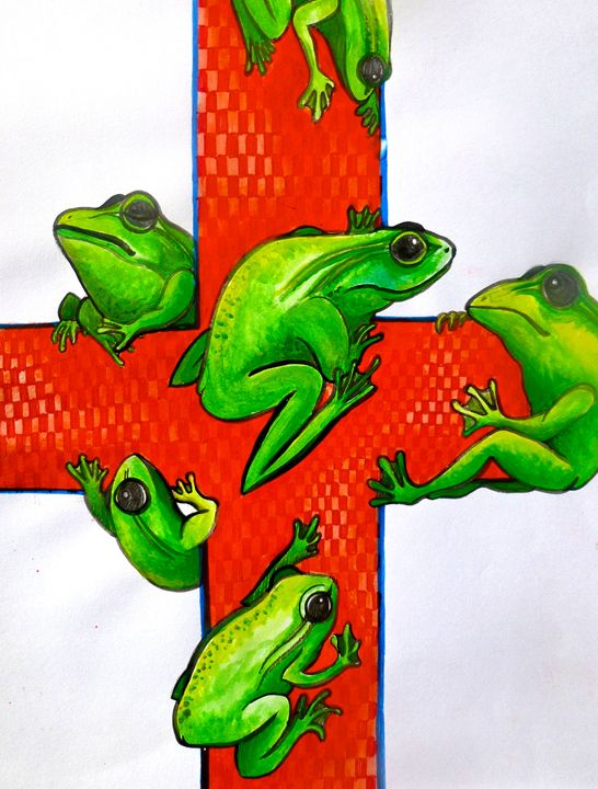 red cross save the frogs art - busyspider