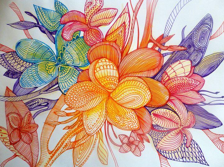 frangi panni abstract flower art - busyspider