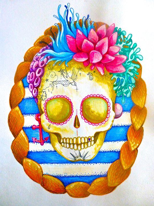 skull sea surf beach tattoo sailor - busyspider