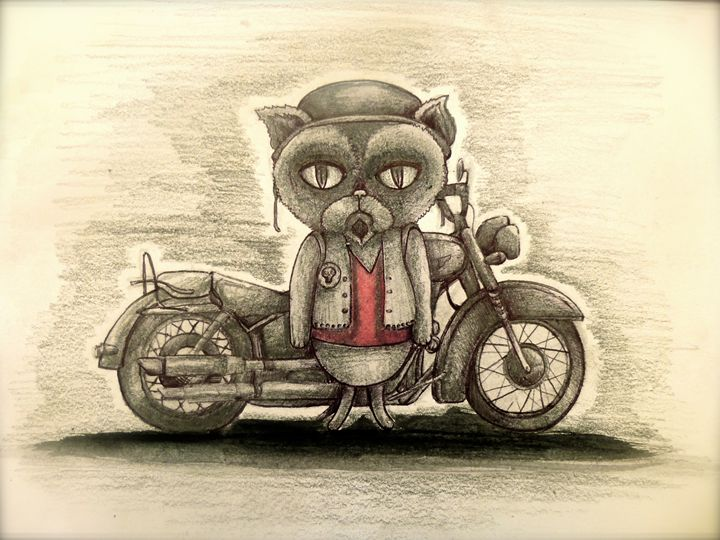 biker grumpy cartoon cat art - busyspider