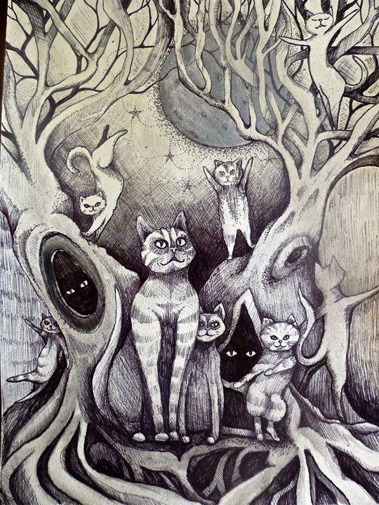 moon lit dancing cats sketch - busyspider