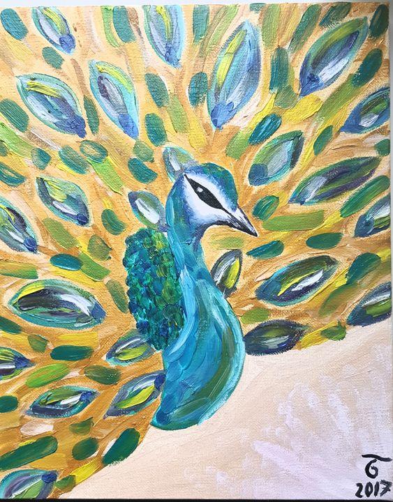 Peacock, oil painting - Bo