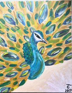 Peacock, oil painting