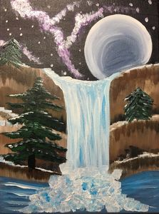 Night sky waterfall