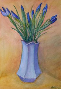 Irises in a Blue Vase