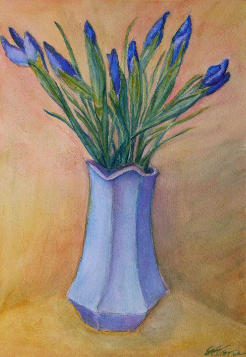 Irises in a Blue Vase - Erin Hollon Fine Art and Illustration