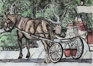 Carriage Ride in Central Park - Erin Hollon Fine Art and Illustration
