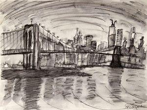 The Brooklyn Bridge and a Grey Sky - Erin Hollon Fine Art and Illustration