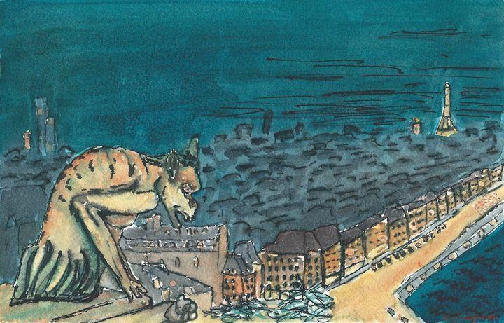 Gargoyle over Paris - Erin Hollon Fine Art and Illustration