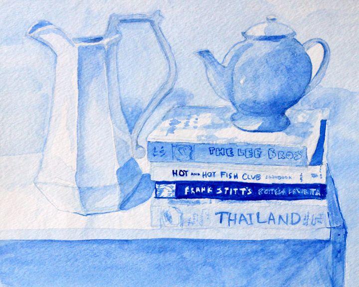Kitchen in Blue - Erin Hollon Fine Art and Illustration