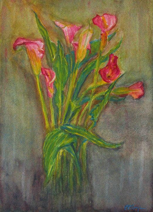 Pink Calla lilies - Erin Hollon Fine Art and Illustration