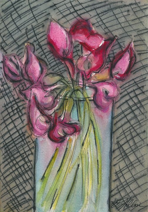 Calla Lilies in a Glass Vase - Erin Hollon Fine Art and Illustration