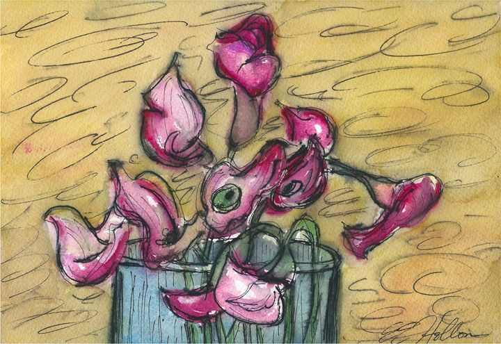 Calla Lilies in a Glass Vase 2 - Erin Hollon Fine Art and Illustration