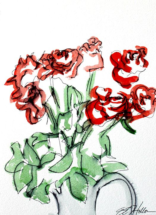 Red Roses - Erin Hollon Fine Art and Illustration