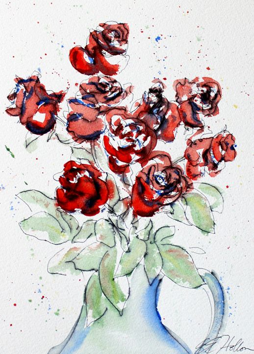 Red Roses 2 - Erin Hollon Fine Art and Illustration