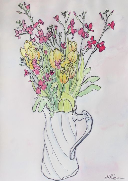 Bouquet in a White Pitcher - Erin Hollon Fine Art and Illustration