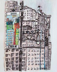 Lamp Post near Columbus Circle - Erin Hollon Fine Art and Illustration
