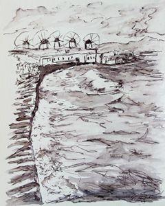 Windmills on a Greek Island - Erin Hollon Fine Art and Illustration