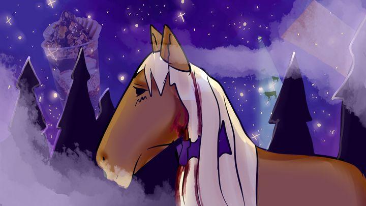 A bat biting a horse at midnight - YuukiDes