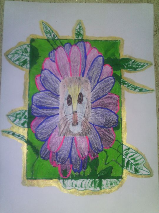 cat on flower - Habit art