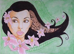 Hawaiian Woman with Flowers