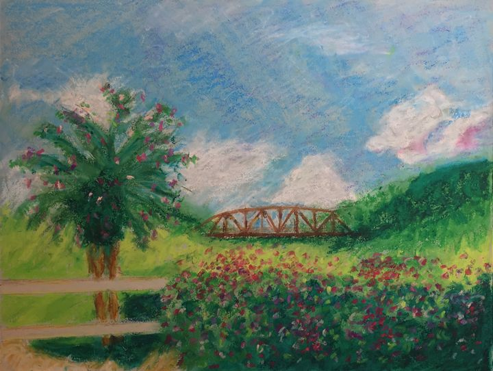 Old Bridge, oil pastel - Beaglesong