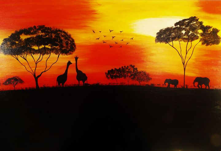 An african style sunset painting - R & R arts and Paintings