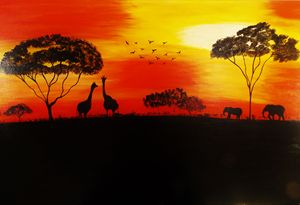 An african style sunset painting