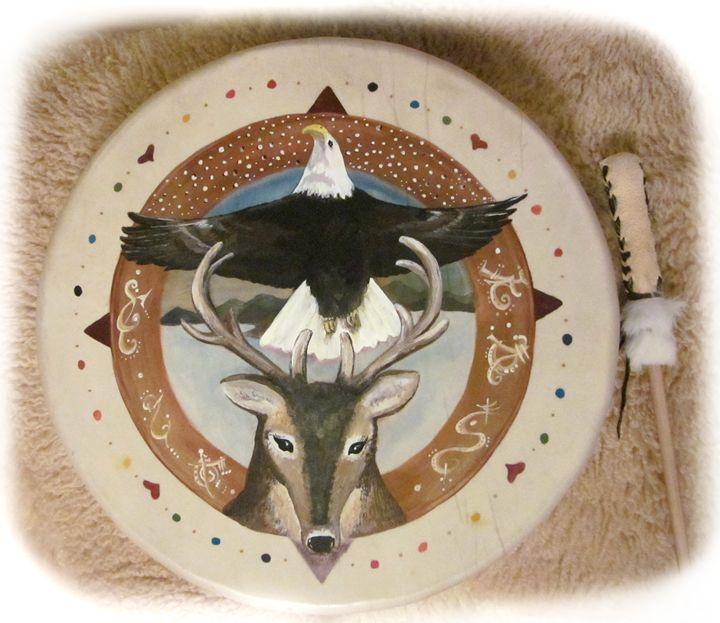 Rainbow Medicine Wheel Teaching Drum - Butterfly Woman's Gallery