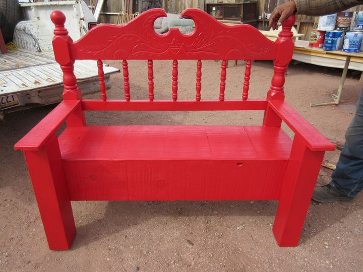 Bright Red Bench - My Evil Twin