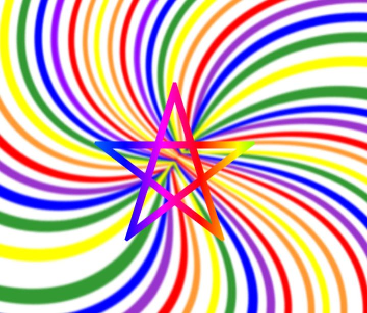 Swirling Rainbow Pentagram - My Evil Twin