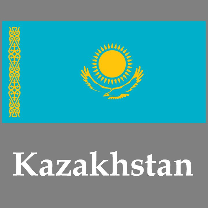 Kazakhstan Flag And Name - My Evil Twin