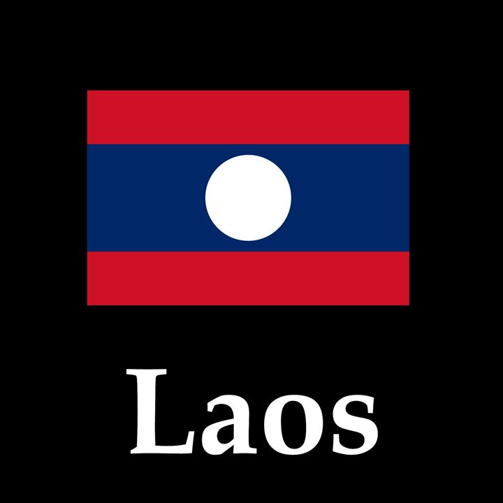 Laos Flag And Name - My Evil Twin