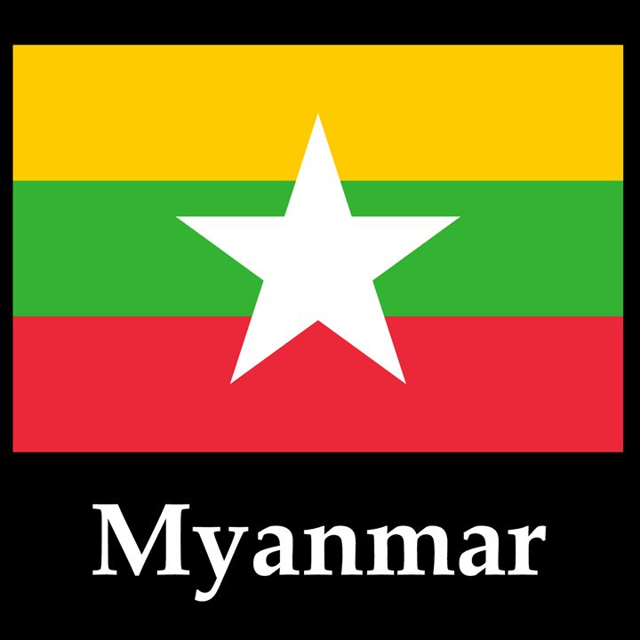 Myanmar Flag And Name - My Evil Twin