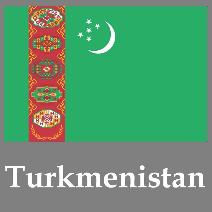 Turkmenistan Flag And Name - My Evil Twin