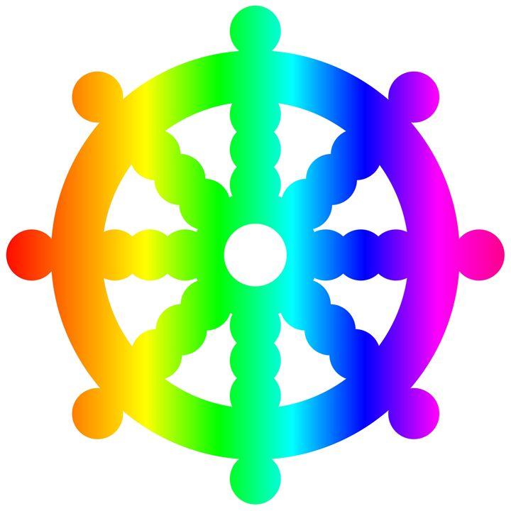 Rainbow Buddhist Wheel Of Dharma - My Evil Twin