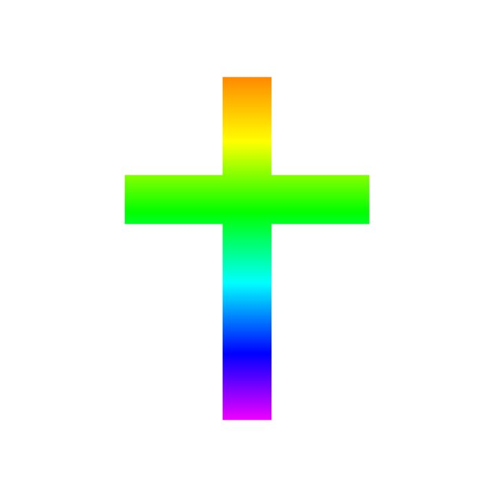 Rainbow Christian Cross - My Evil Twin