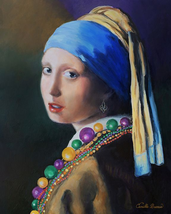 Girl with the Mardi Gras beads - Camille Barnes Studio