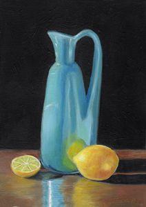 Blue Vase and Lemons - Camille Barnes Studio