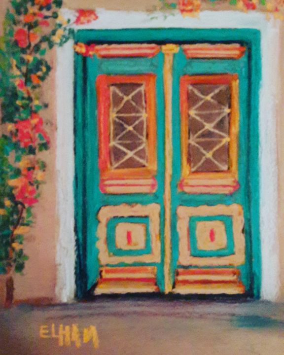 Green blue door - Elli