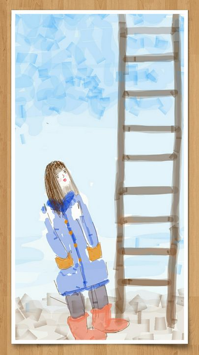 curiouse girl with blue coat - Elli