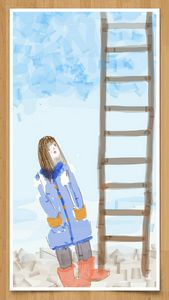 curiouse girl with blue coat