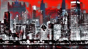 CHICAGO ABSTRACT RED