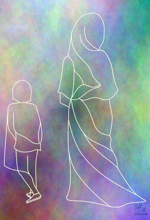 Child and woman. Line art. - Michele Vitti