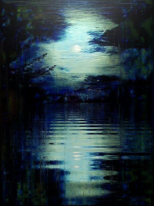GLITCHED MOON OVER WATER - STEVEN SOLOMON'S ORIGINAL ARTWORK