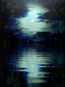 GLITCHED MOON OVER WATER - STEVEN SOLOMON'S ORIGINAL ARTWORK